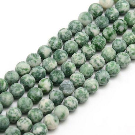 Green Spot stone bead thread, green, round shape 8 mm