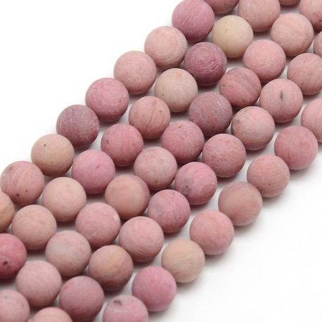 Rhododendral bead thread, pink, round shape 8 mm