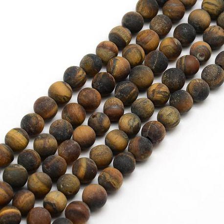 Matt Tiger Eye Bead Thread, Brown, 8 mm