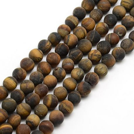Natural matte tiger eye bead thread, brown, 6 mm, 1 strand
