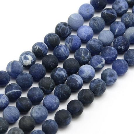 Frosted Thread of Sodaite Beads, Blue, Round Shape 6 mm