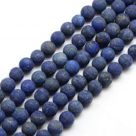 Lapis Lazuli karoliukų gija, mėlynos spalvos, apvalios formos 6 mm