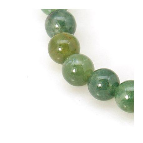 Moss agate bead thread, green, round shape 6 mm