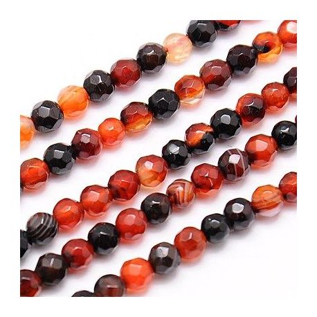 Agate bead mix thread, multicolor, round shape, 4 mm