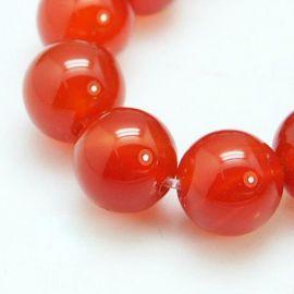 Carneol bead thread, red, round shape 6 mm