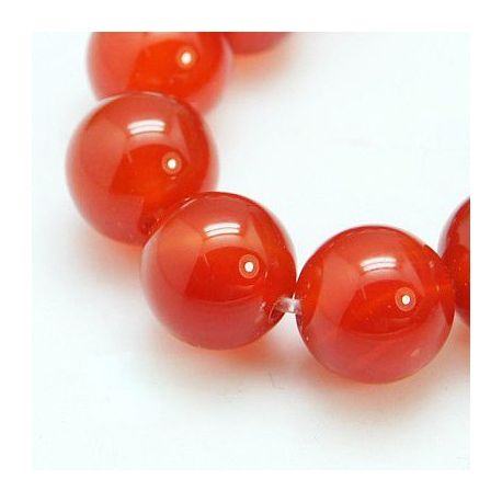 Agate bead thread, red, round shape 8 mm