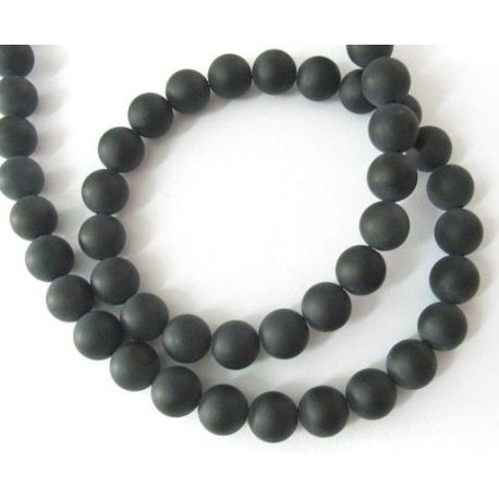 Frosted Agate bead thread, black, round shape 8 mm