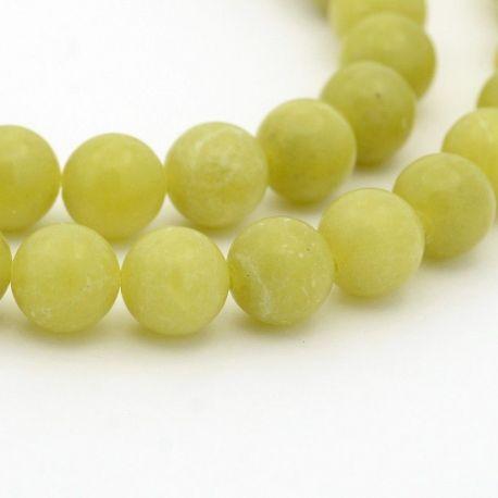 Peridon bead thread, green, round shape 4 mm