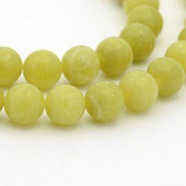 Peridoto karoliukų gija, žalios spalvos, apvalios formos 6 mm