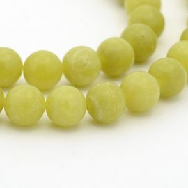 Peridon bead thread, green, round shape 6 mm