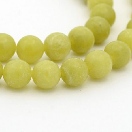 Peridon bead thread, green, round shape 6 mm