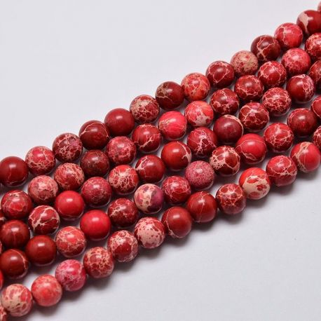 Imperial Jaspio bead thread, dark red, 8 mm