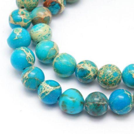 Imperial Jaspio bead thread, azure, 6 mm