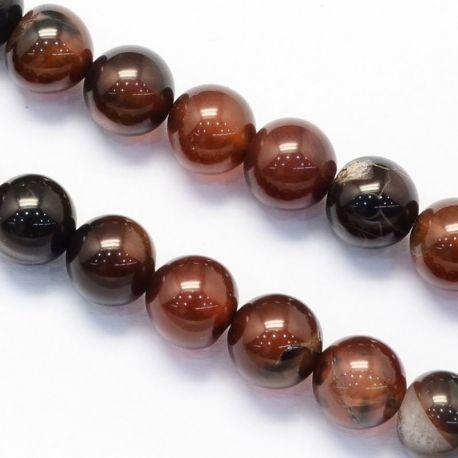 Agate bead thread, brown-orange, round shape 10 mm