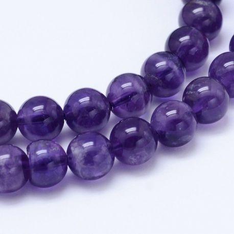 Amethist bead thread, purple round shape 4 mm