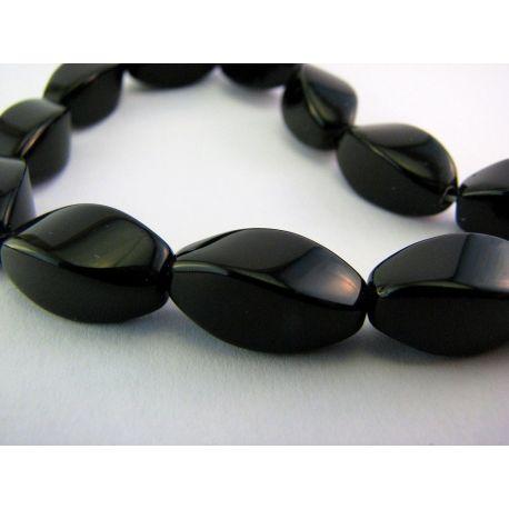 Agato karoliukai juodos spalvos 4 briaunų pailgos formos 8mm