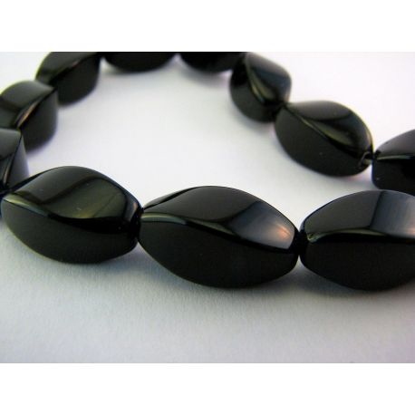 Agate beads black 4 edges elongated shape 8mm