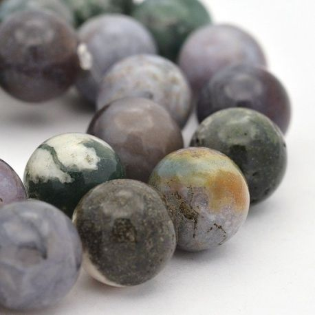 Indian Agate beads, green, round shape 12 mm