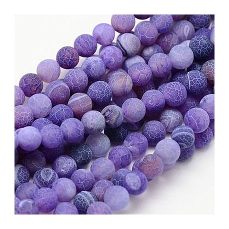 Matte Agate bead thread, purple, round shape 8 mm
