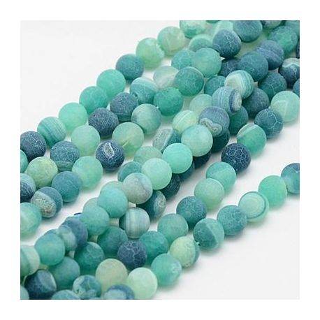 Frosted Agate bead thread, bluish, round shape 8 mm