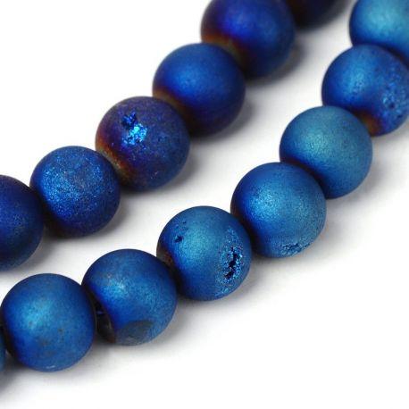 "Thread of agate ""Druzy"" beads, blue-purple"