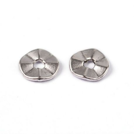 Insert aged silver color, size 7 mm, 10 pcs