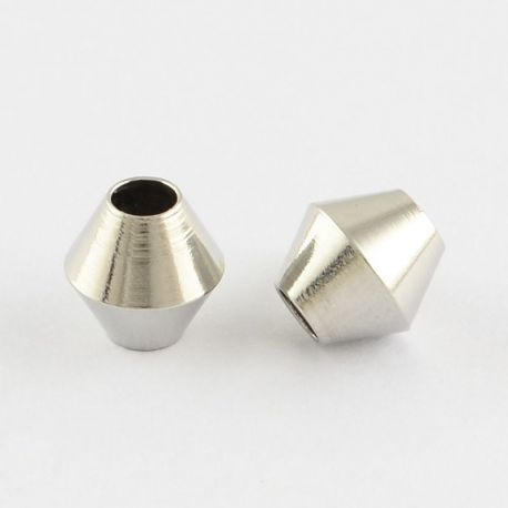 304 Stainless steel insert nickel-colored, size 6x6 mm, 4 pcs