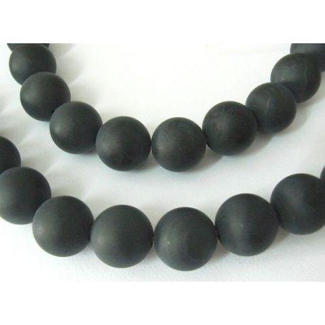 Matiniai Agato karoliukų gija,juodos spalvos, apvalios formos 11-12 mm