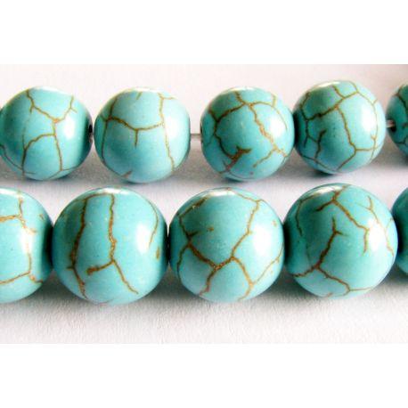 Sintetinio turkio karoliukai žydros žalios spalvos apvalios formos 10mm