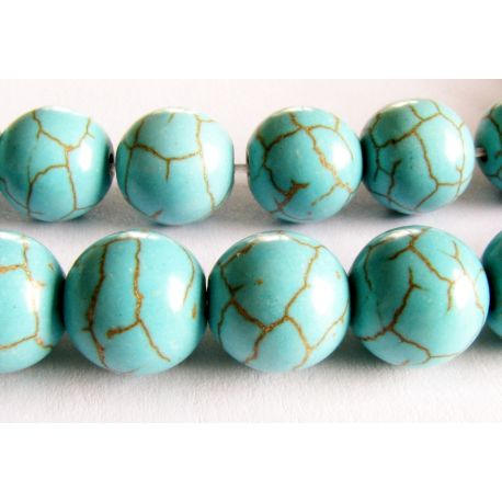 Synthetic turquoise beads azure green round shape 10mm