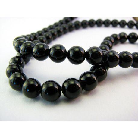 Agato karoliukai juodos spalvos apvalios formos 6mm