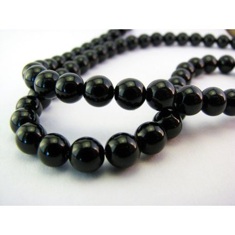 Agate beads black round shape 6mm