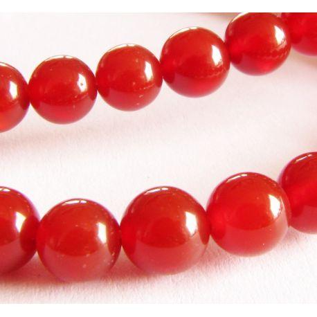 Agato karoliukai raudonos spalvos apvalios formos 6mm