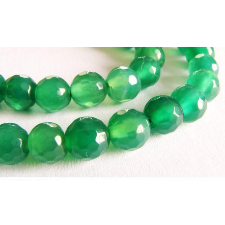 Agato karoliukai žalios spalvos briaunuoti apvalios formos 6mm