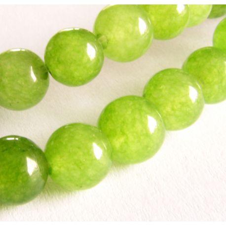 Emeraldo karoliukai žalios-salotinės spalvos apvalios formos 6mm