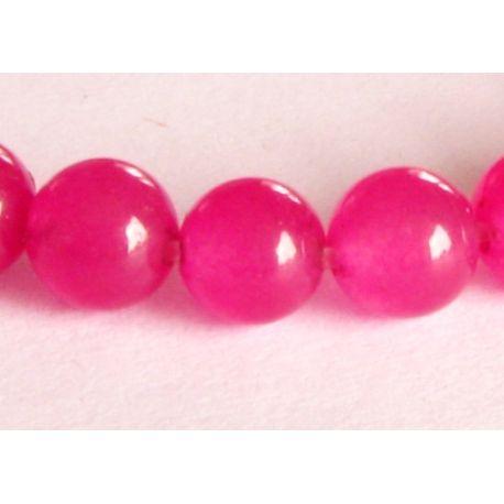 Akmeniniai karoliukai ryškios purpurinės spalvos apvalios formos 6mm