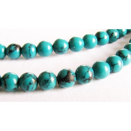 Synthetic turquoise beads green with black stripes round shape 4mm