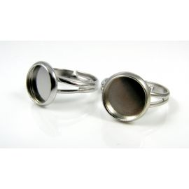 Ring base for cabochon 10 mm, dark silver color, 1 pcs