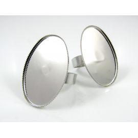 Žiedo pagrindas kabošonui 30x20 mm, tamsios sidabro spalvos, 1 vnt