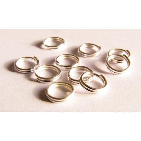 Dvigubi žiedeliai skirti papuošalų gamybai sidabro spalvos 4mm