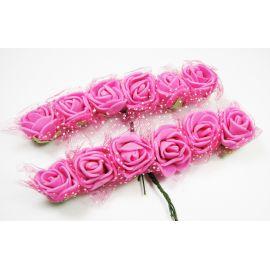 Decorative flowers with a tiuliu, 20 mm, 12 pcs.