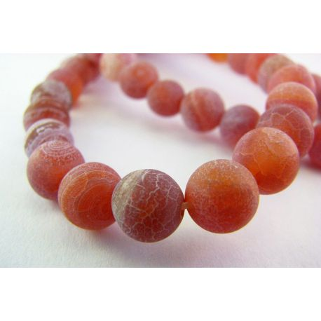 Agate beads purple - orange shades, round shape 8mm
