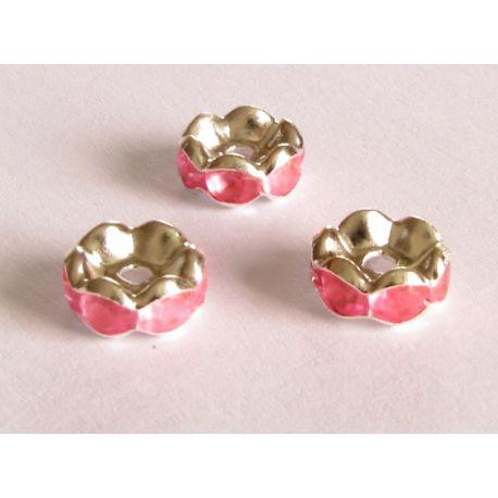 Intarpas sidabro spalvos inkrustuotas rožinės spalvos akutėmis 8mm
