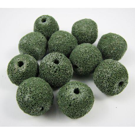 Lava beads, green, round shape, 18 mm