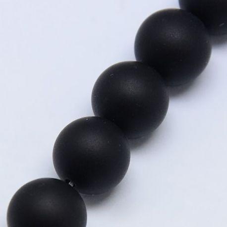 Matte Agate beads, thread, black, round shape 10 mm
