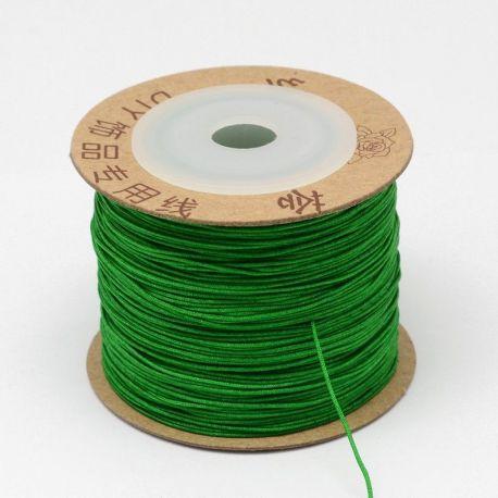 Nylon thread cord, shiny bright green color 0.80 mm 5 m