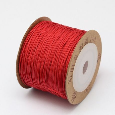 Nylon thread cord, shiny red 0.80 mm 1 m