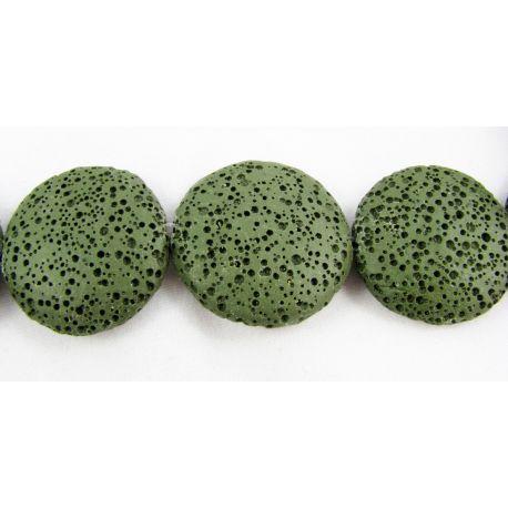 Lava beads dark green coin shape 26 mm
