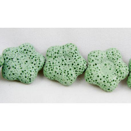 Lavos karoliukai, žalios spalvos, gėlytės formos, 26 mm