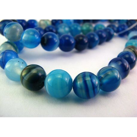 Agate beads blue - white round shape 8mm